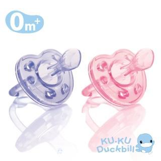 【KU.KU. 酷咕鴨】馬卡龍全矽膠安撫奶嘴-初生0m+(藍莓紫/蜜桃粉)