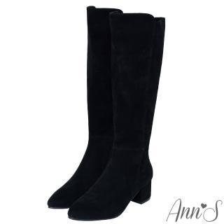 【Ann'S】前高後低防水絨布粗跟及膝長靴(黑)