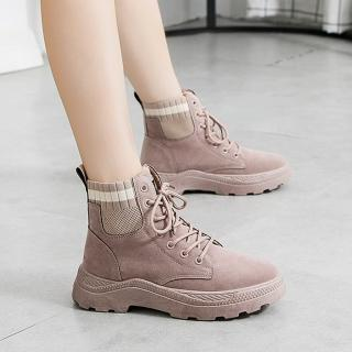 【LN】現貨 簡約針織拼接厚底馬丁靴O↘(馬丁靴/靴子/襪靴)