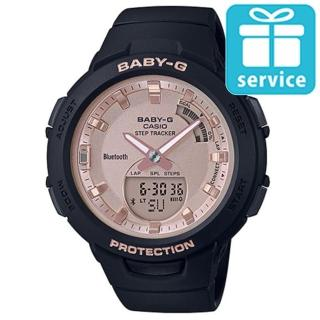 【CASIO 卡西歐】BABY-G 藍芽計步新女性時尚運動雙顯錶-黑X玫瑰金(BSA-B100MF-1A)