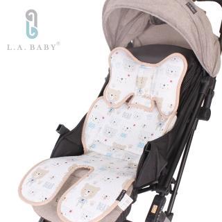 【L.A. Baby】多功能3D涼感推車汽座餐椅座墊-加長型(頭枕可拆可調配合寶寶成長使用6款花色)