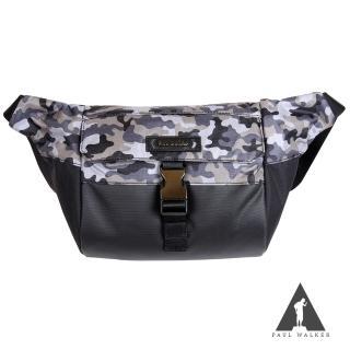【Paul Walker】新時尚系列拉鍊掀蓋插釦斜背單肩包(迷彩黑)