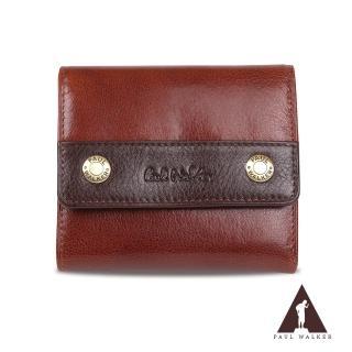 【Paul Walker】原皮系列植鞣皮革10卡透明窗零錢袋三摺短夾(咖啡色)