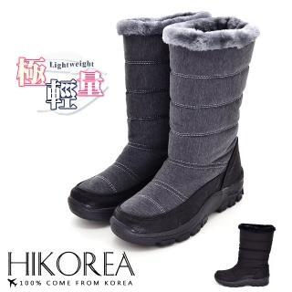 【HIKOREA】正韓製/版型正常。輕量刷色皮革拼接防潑水面料滾邊內鋪毛中筒雪靴(7-3187共2色/現貨)