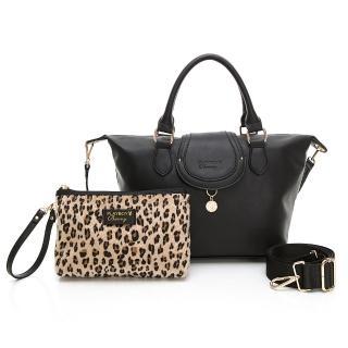 【PLAYBOY】手提包附長背帶 Leopard時尚豹豹系列(黑色)