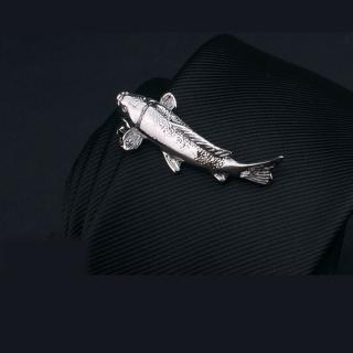 【拉福】領帶夾福魚襯衫夾領夾-單領夾(銀福魚款)