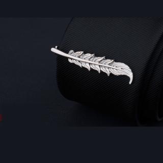 【拉福】領帶夾銀葉襯衫夾領夾-單領夾(銀葉款)