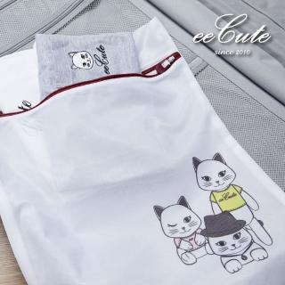 【有感良品】MIT萌貓細網洗衣收納兩用袋40X50cm(eeCute