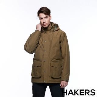 【HAKERS 哈克士】男款 滑雪防水鋪棉外套(軍綠色)