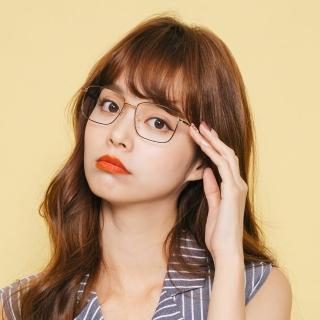 【ALEGANT】韓系復古經典純黑金色細方框UV400濾藍光眼鏡(網紅熱銷韓劇話題款潮流藍光眼鏡)/