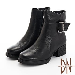 【DN】短靴_俐落剪裁銅釦素面真皮粗跟踝短靴(黑)