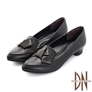 【DN】跟鞋_MIT全真皮蝴蝶結鉚釘點綴尖頭跟鞋(黑)
