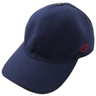【GUCCI 古馳】刺繡LOGO棉質棒球帽/鴨舌帽(深藍)