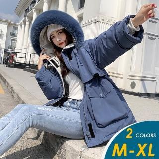【CHACO】/ 現貨/  韓系派克羽絨棉收腰大毛領連帽保暖外套#(寬版)