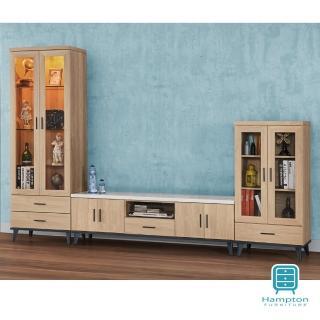 【Hampton 漢汀堡】華莉絲黃橡木9.5尺L型櫃(一般地區免運費/電視櫃/展示櫃)