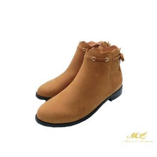 【MK】浪漫花邊 經典牛皮短靴(焦糖棕)