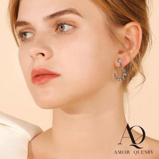 【Quenby】AMOR 925純銀 月牙彎彎帶鑽質感耳環/耳針(飾品/名媛/歐美/派對)