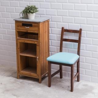 【CiS 自然行】北歐木作椅 咖啡胡桃色 湖水藍椅墊(泡棉墊 彩色椅墊 木書椅 弧形背部 北歐椅 實木家具)