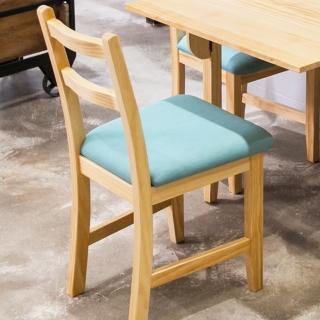 【CiS 自然行】北歐木作椅 扁柏自然色 湖水藍椅墊(泡棉墊 彩色椅墊 木書椅 弧形背部 北歐椅 實木家具)