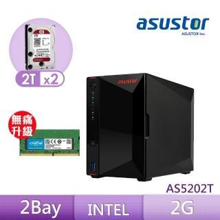 【8G升級組】ASUSTOR AS5202T 搭【WD 2TB】2入組 NAS 硬碟+【美光】D4 2400 8G筆記型記憶體