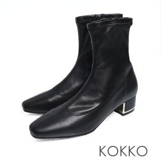 【KOKKO 集團】繁華卡薩布蘭卡金屬跟方頭襪靴(霧面黑)