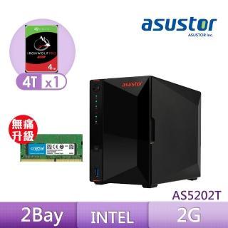 【8G升級組】ASUSTOR AS5202T 搭【希捷 4TB】1入組 NAS PRO硬碟+【美光】D4 2400 8G筆記型記憶體