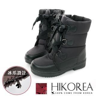 【HIKOREA】韓國空運/版型正常。質感皮革防潑水寬綁帶內鋪毛冰爪厚底太空雪靴(7-3077共2色/現貨)