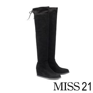 【MISS 21】舒適時尚後綁帶楔型高跟過膝靴(黑)