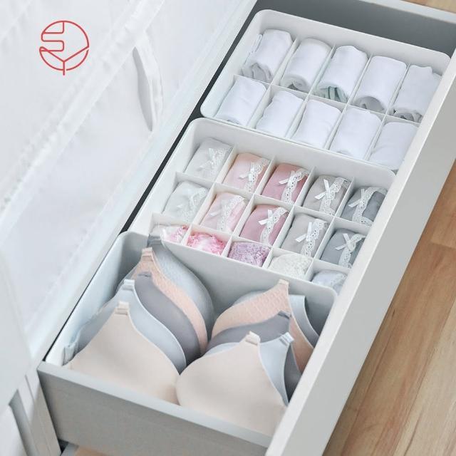 【日本霜山】多功能分隔內衣/內褲/襪子PP收納盒附蓋-3件套組(儲物