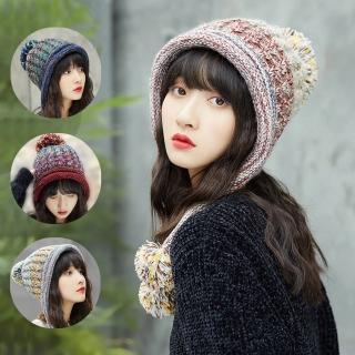 【幸福揚邑】韓版彩色毛球雙層保暖護耳小顏針織毛線帽(四色可選)