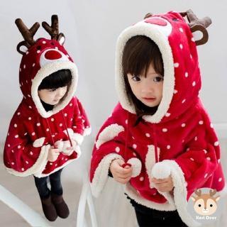 【Kori Deer 可莉鹿】聖誕新年麋鹿嬰兒童斗篷披肩(搖粒絨造型保暖連帽披肩披風)
