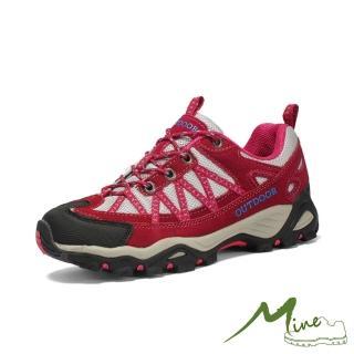 【MINE】透氣網布織帶拼接撞色時尚戶外休閒登山鞋(紅)