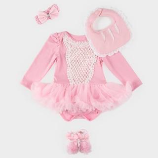 【日安朵朵】女嬰雪紡蓬蓬裙連身衣禮盒–奧羅拉(衣+圍兜+寶寶襪)
