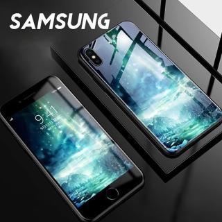 【韓式作風】SAMSUNG S10/S10E/NOTE9/NOTE8/S9/S8系列 夜光彩繪防摔鋼化玻璃手機殼RCSAM104(七色)