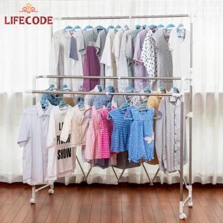 【LIFECODE】《屏風三桿》可升高曬衣架-附輪可移動(附20個防風圈)