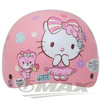 【HELLO KITTY】熊Kitty兒童機車安全帽-粉紅色(贈短鏡片)