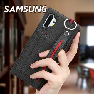 【韓式作風】SAMSUNG NOTE10/NOTE9/S10/S9/S8/A50/A2系列 時尚布紋插卡設計腕帶支架手機殼RCSAM143(五色)