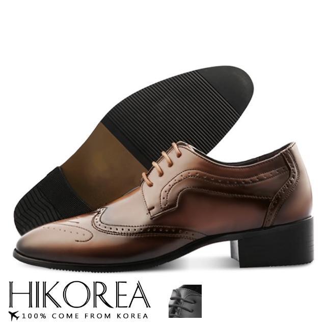 【HIKOREA】韓國空運/版型偏小。男款多層次拼接雕花皮革綁帶紳士尖頭皮鞋(73-392共2色/現貨+預購)/