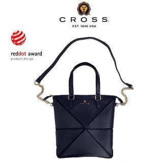 【CROSS】限量1.5折 紅點大獎 經典頂級NAPPA小牛皮幾何側背包 小包(深藍色 專櫃展示品99%新)