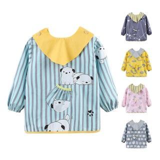 【JoyNa】兒童可拆式反穿衣防髒畫畫衣飯兜(3件入)