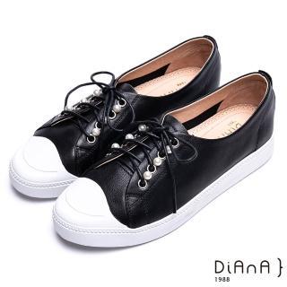 【DIANA】珍珠綴飾綁帶休閒鞋-漫步雲端焦糖美人款(黑)