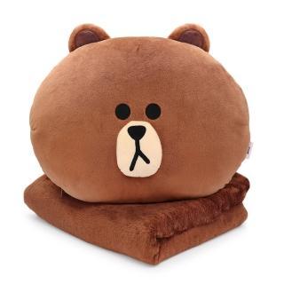 【GARMMA】LINE FRIENDS 造型抱枕毯 熊大(正版授權)