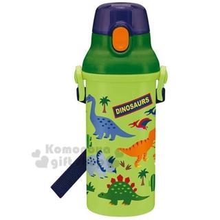 〔小禮堂〕恐龍 日製直飲式水壺附背帶《綠.叢林》480ml.兒童水壺.隨身瓶