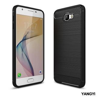 【YANG YI 揚邑】Samsung Galaxy J7 Prime 拉絲紋碳纖維軟殼散熱防震抗摔手機殼