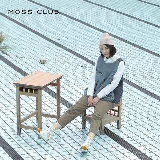 【MOSS CLUB】數理刺繡無袖毛料-背心(淺藍色/版型偏大)