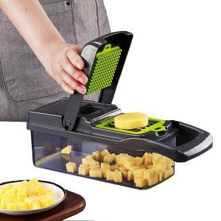 【PUSH!】廚房用品多功能切壓丁切條濾蛋清馬鈴薯絲手壓切菜器(D191-1)