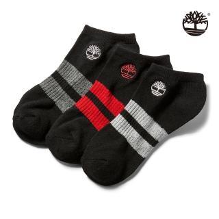 【Timberland】中性黑色線條三件組船型襪(A1EYR001)