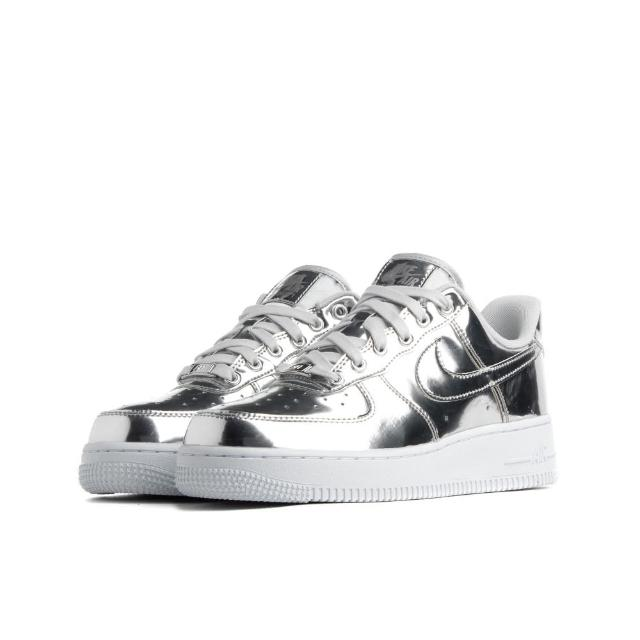 【NIKE 耐吉】W AIR FORCE 1 SP LIQUID SILVER 銀色 女鞋 低筒(CQ6566-001)