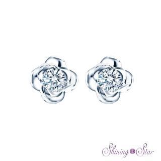 【Shining Star】花朵晶鑽白K金耳環(俏麗優雅造型)