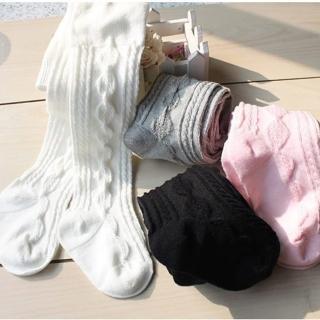 【橘魔法】麻花編織紋路 素色褲襪(童褲襪 兒童襪 Baby magic 現貨)